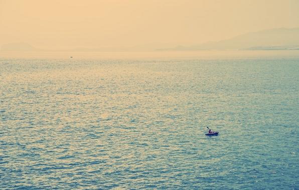 Picture sea, boat, minimalism