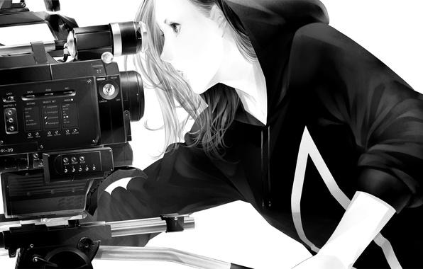 Picture girl, camera, art, hood, Sawasawa