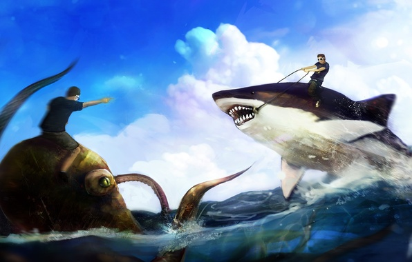 Picture sea, humor, shark, art, rage, octopus, mouth, tentacles, rider, guys, the fight, top