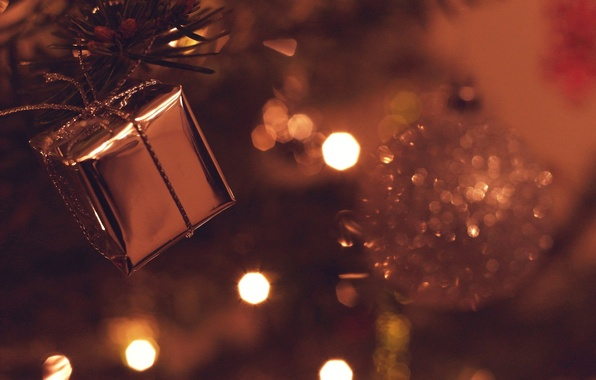Picture lights, background, holiday, box, gift, widescreen, Wallpaper, new year, Christmas, blur, tape, wallpaper, christmas, new …