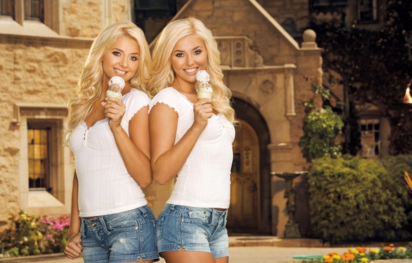 Picture smile, girls, ice cream, shorts, blonde, Kristina Shannon, Karissa