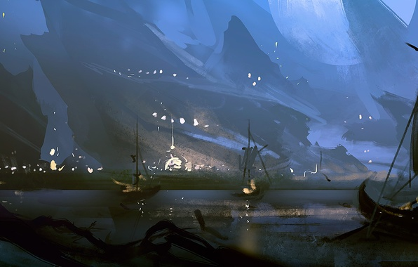 Picture sea, mountains, night, shore, boat, ships, art, sail