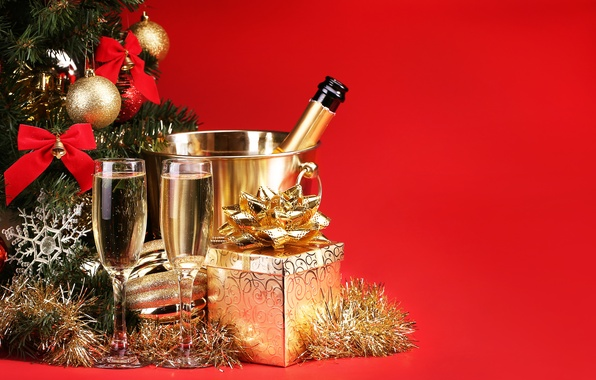 Picture decoration, gift, tree, New Year, glasses, champagne