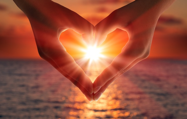 Picture sea, light, love, sunset, lights, heart, hands, light, love, sea, heart, sunset, romantic, hands