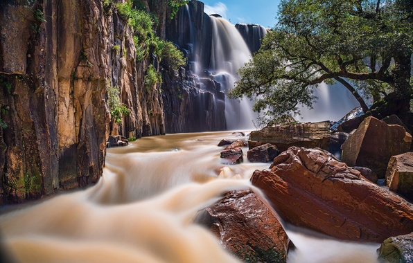 Picture river, stones, waterfall, Mexico, cascade, Mexico, Cascade de la Concepcion, Aculco, Aculco