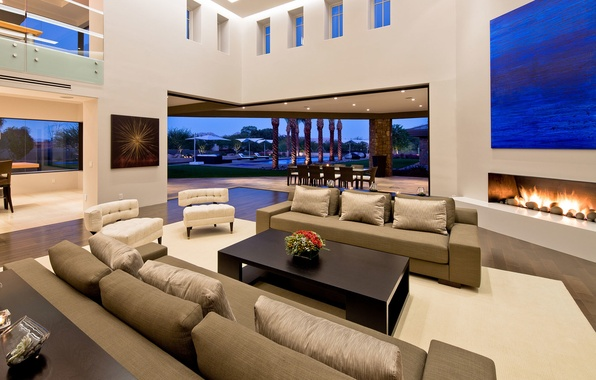 Picture design, house, style, palm trees, table, chairs, interior, picture, chairs, fireplace, pool, table, sofas, Arizona, …