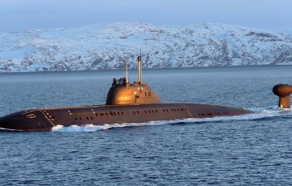 Picture boat, Navy, snow, underwater, given, mountains., submarine, the ocean