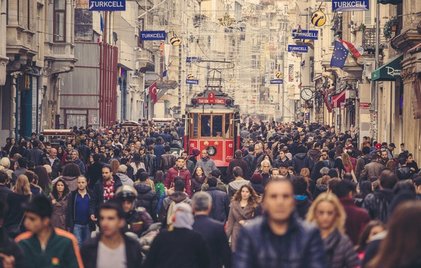 Photo Wallpaper Street People Istanbul Crowd Turkey Tram Cityscape