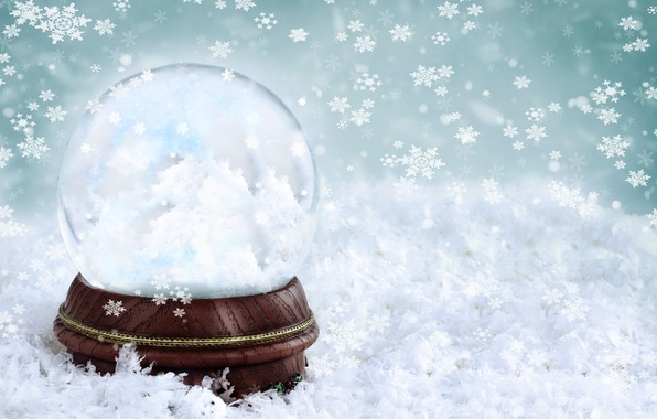 Picture winter, glass, snowflakes, background, ball