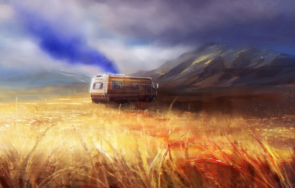 Picture art, Breaking Bad, AMC, lab, Fleetwood Bounder, crystal ship, The RV