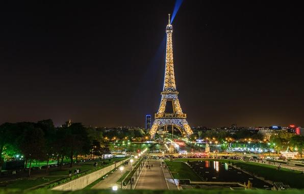 Picture landscape, night, tower, Paris, ray, Paris, spotlight, Eiffel Tower