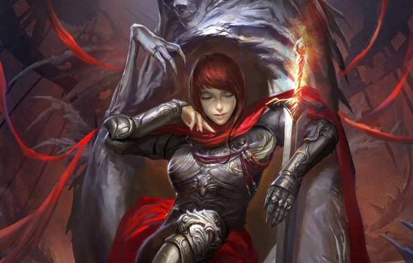 Picture girl, monster, sword, the demon, art, sitting, legend of cryptids