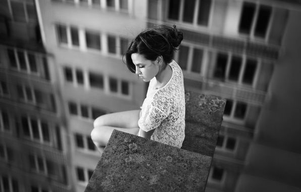 Picture roof, girl, photo, height, photographer, black and white, girl, sitting, photography, photographer, David Olkarny