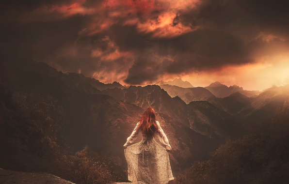 Picture girl, mountains, the moon, dress, art
