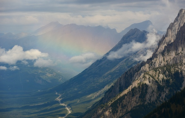 Picture forest, clouds, mountains, rainbow, valley, panorama