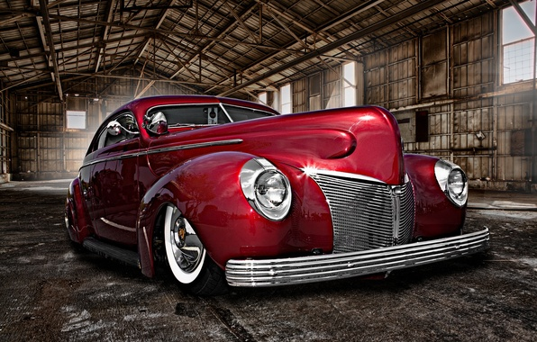 Picture retro, hangar, car, classic, the front, classic car