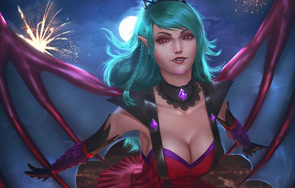 Picture chest, look, girl, wings, art, vampire, evelyn