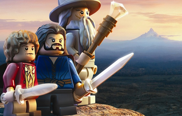 Picture the sky, earth, toys, mountain, staff, swords, Gandalf, LEGO, the wizard, The hobbit, Bilbo Baggins, …