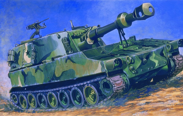 Picture gun, art, installation, American, paladin, self-propelled, paladin, mark, artillery, SAU, the crew, caliber, howitzers, self-propelled, …