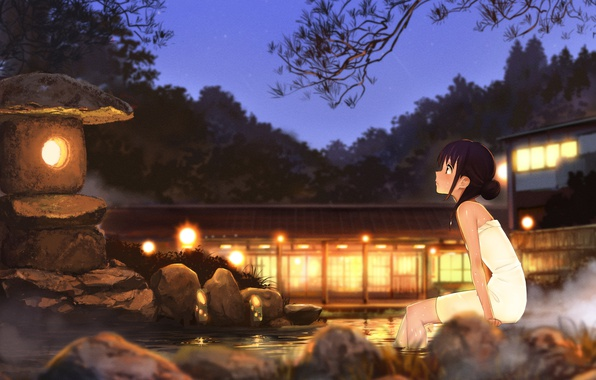 Picture water, girl, night, art, hot springs