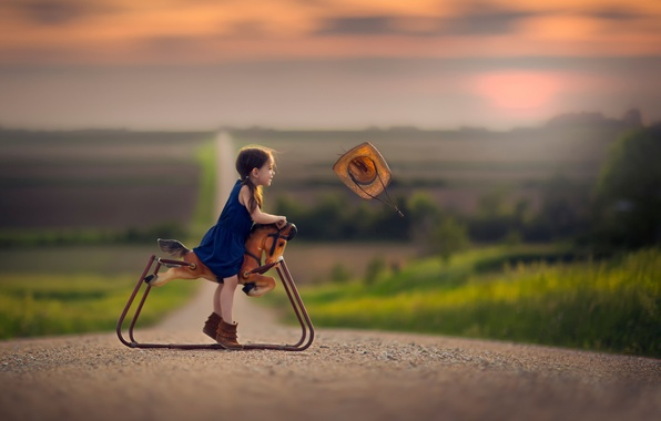 Picture road, the wind, toy, hat, space, girl, horse