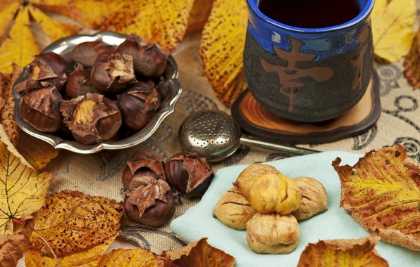 Picture autumn, leaves, tea, character, chestnuts, strainer
