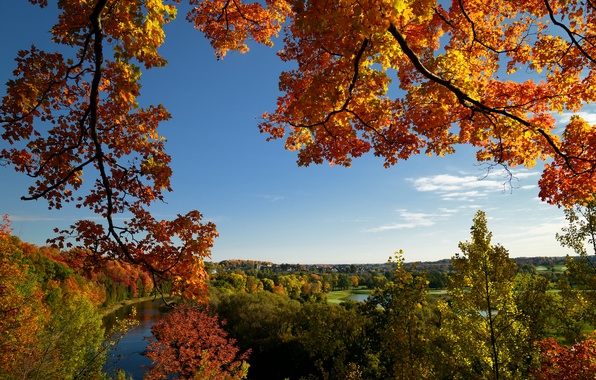 Picture autumn, the sky, trees, lake, river, hills, home