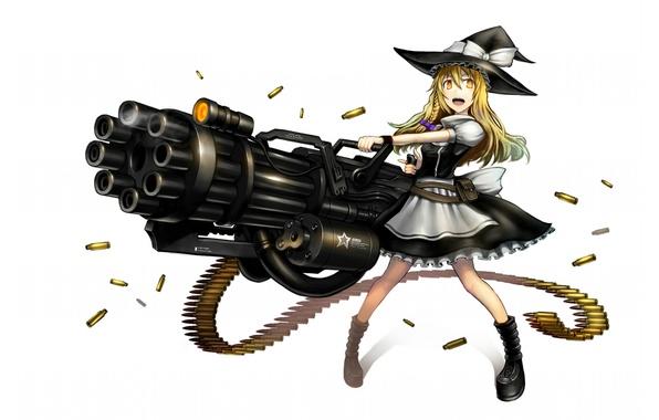 Picture girl, weapons, the game, hat, anime, sleeve, art, Touhou, Gia, Gatling gun, Marisa Kirisame