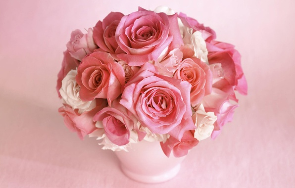 Picture flower, flowers, pink, rose, color, roses, bouquet, petals, beautiful, vase, buds, gently