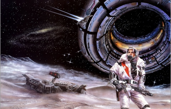 Picture space, stars, planet, the crash, astronaut, station, space, male, Luis Royo, space, station, Blaster, women, …