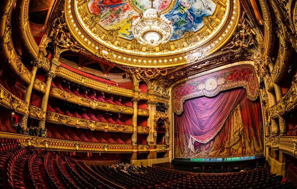 Picture scene, Paris, chandelier, theatre, Opera, hall
