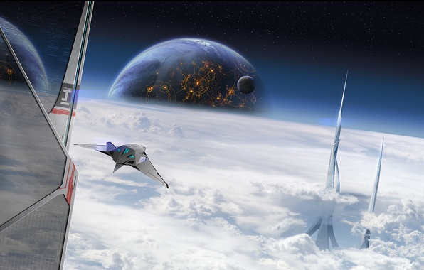 Picture space, clouds, planet, tower, ships, the atmosphere, art, peak