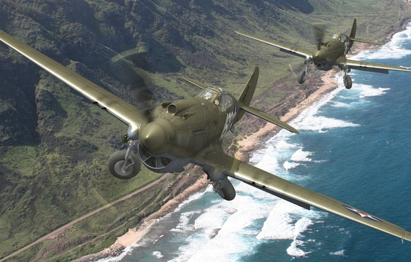 Picture beach, mountains, shore, fighters, pair, USA, chassis, BBC, Curtiss, Tomahawk, P-40, Warhawk, Kittyhaw