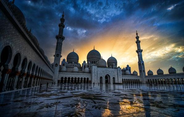 Picture sunset, Abu Dhabi, UAE, The Sheikh Zayed Grand mosque, Abu Dhabi, UAE, Sheikh Zayed Grand …