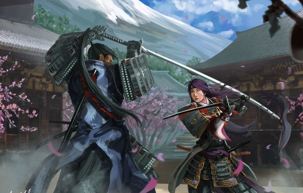 Picture girl, weapons, Asia, mountain, home, Sakura, art, armor, battle, guy, the fight, Peter Balogh
