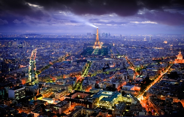Picture night, the city, lights, France, Paris, view, building, tower, home, lighting, Eiffel, panorama, capital