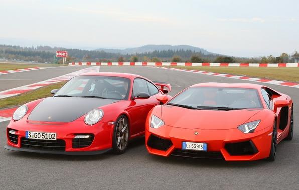 Picture Lamborghini, 911, Porsche, Porsche, and, supercars, LP700-4, Aventador, Lamborghini