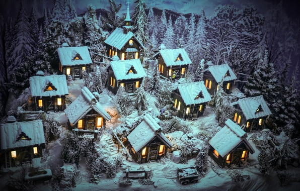Picture winter, snow, houses, figure, Merry Christmas
