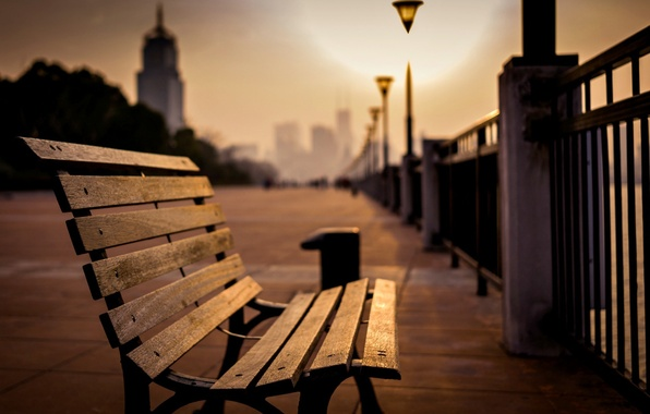 Picture sea, light, bench, the city, Park, background, lamp, people, stay, widescreen, Wallpaper, mood, the fence, …