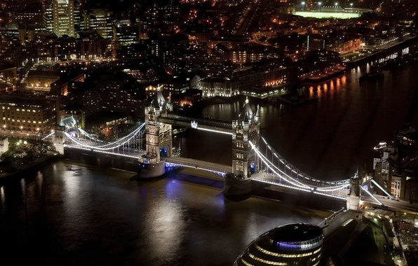 Picture night, the city, river, England, London, home, skyscrapers, lighting, UK, Thames, Tower bridge, Tower Bridge, …