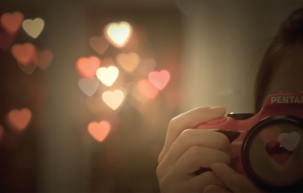 Picture love, flash, the camera, hearts