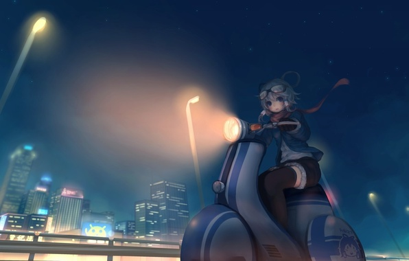 Picture night, the city, art, lights, girl, vocaloid, scooter, need6699955, luo tianyi