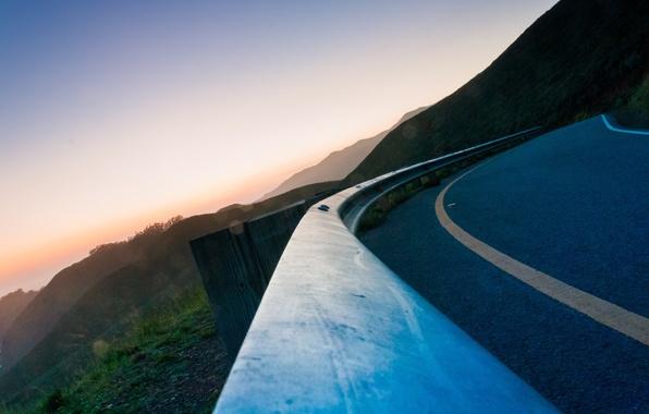 Picture road, asphalt, turn, the fence, barrier