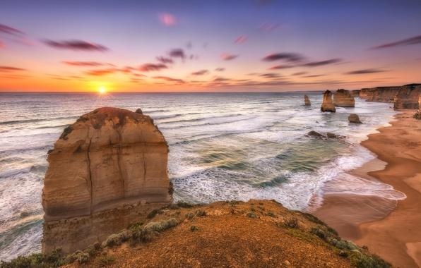 Picture beach, landscape, the ocean, shore, sunset, Melbourne, Australia, Victoria, 12Apostles