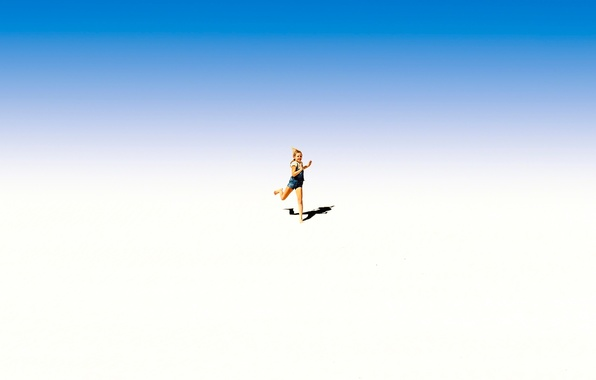 Picture shadow, running, girl
