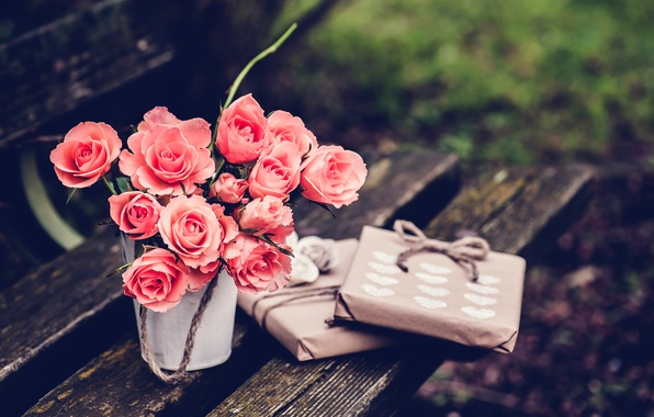 Picture flowers, bench, roses, shop, gifts, shop, pink, bench, packaging