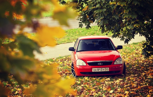 Photo wallpaper drives, road, red, priora, leaves, Lada 2170, prior, autumn
