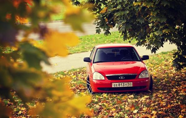 Photo wallpaper road, autumn, leaves, drives, red, prior, priora, Lada 2170