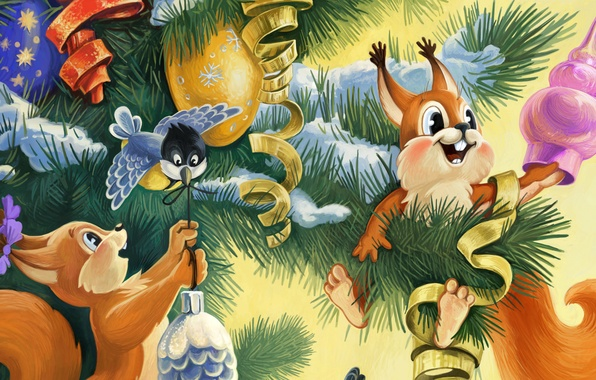 Picture the rain, toys, tree, spruce, New year, USSR, bump, titmouse, New Year, Happy New year, …