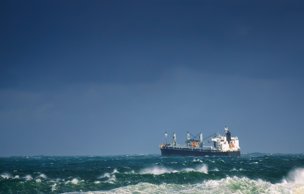 Picture waves, storm, ship, tanker, troubled sea